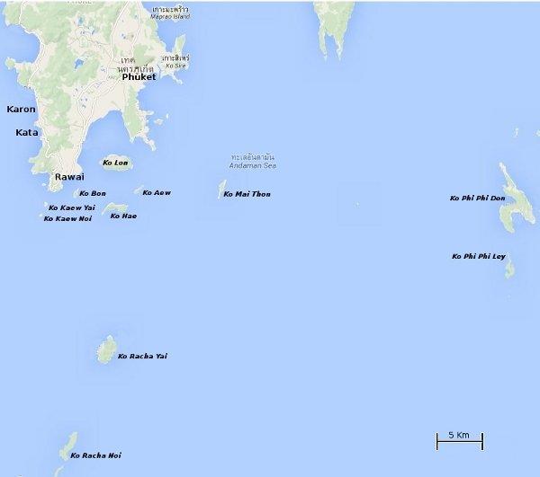 Carte des îles situées au sud de Phuket