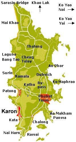Carte de Phuket en Thailande, réservation hotel et chambre d'hote à Karon beach, plage de Karon